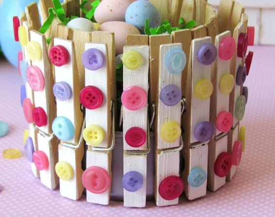 Spring container with clothes pin & buttons ...: