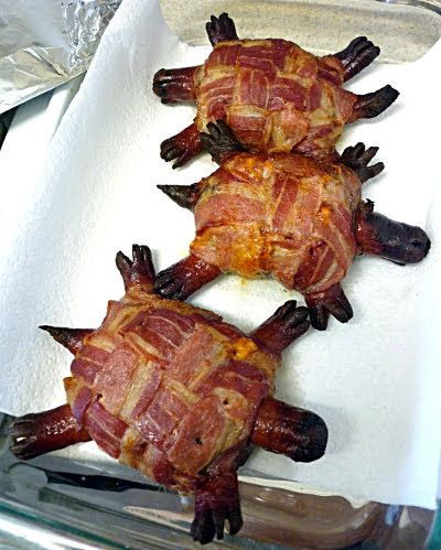 EEk! ........ beef patties topped with sharp cheddar cheese then wrapped in a bacon weave before sticking hot dogs in as the head, tail and legs..