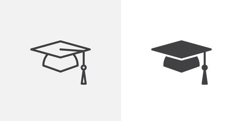 Graduation Cap Icon Line And Glyph Version Student Hat Outline And Filled Vector Sign Academic Cap Linear Logo Illustration Graduation Hat Designs Pictogram