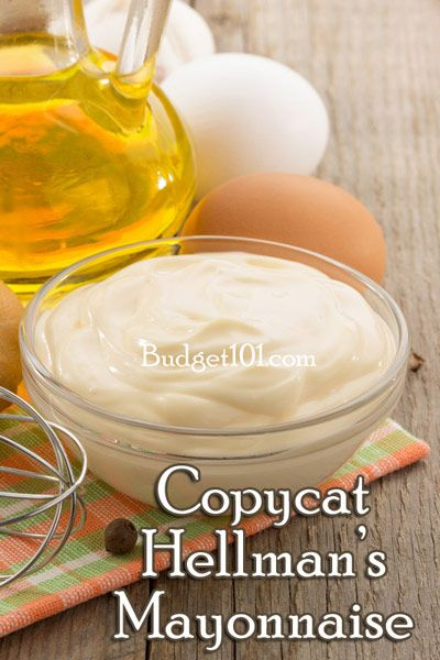 "COPYCAT HELLMAN""S MAYONNAISE: You'll Need: 1 egg (room temp) 1 t. dry mustard 1 t. salt  1/4 c. veg oil. dash cayenne pepper  1 c. veg oil. 3 T. Vinegar     Place First 5 ingredients in blender on low speed.   While the machine is blending, SLOWLY pour in another 1/2 c. oil. Add the vinegar and the remaining oil. Blend until firm. Store in refrigerator."