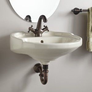 "Medium Victorian Wall Mount Sink - 4"" Centers - Biscuit - Amazon.com"