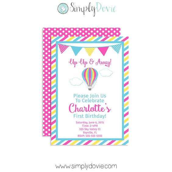 Up, Up and Away birthday invitation printed