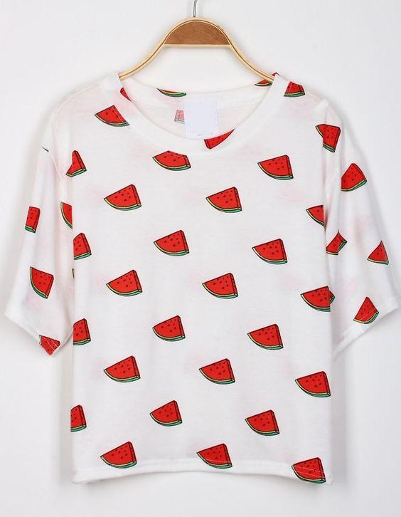 T-Shirt imprimé pastèque -blanc  8.27