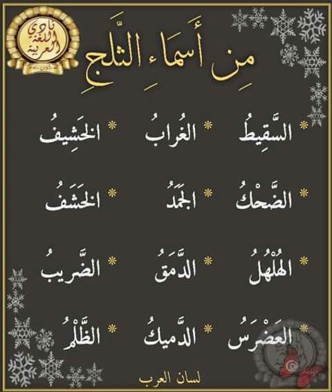 من أسماء الثلج Learn Arabic Language Arabic Language Learning Arabic