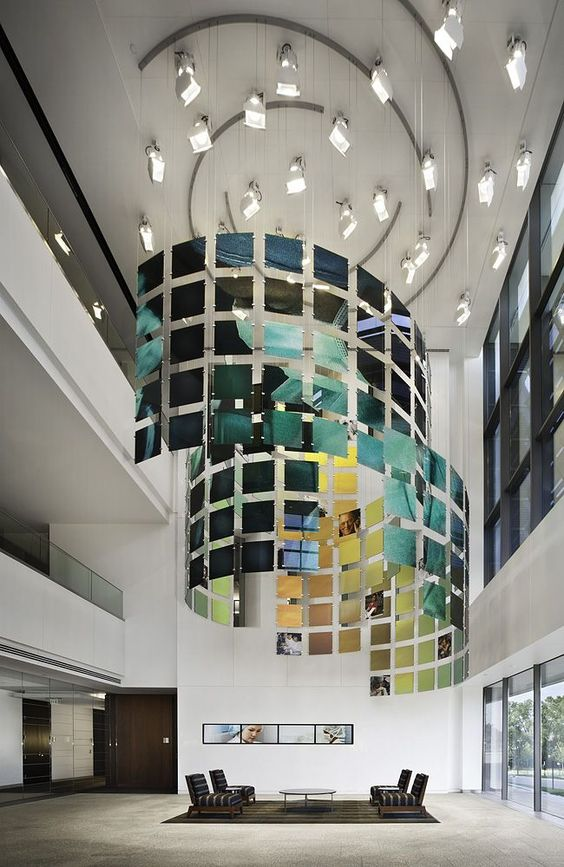 St jude chandelier corporate office designer bill for Beautiful office space design