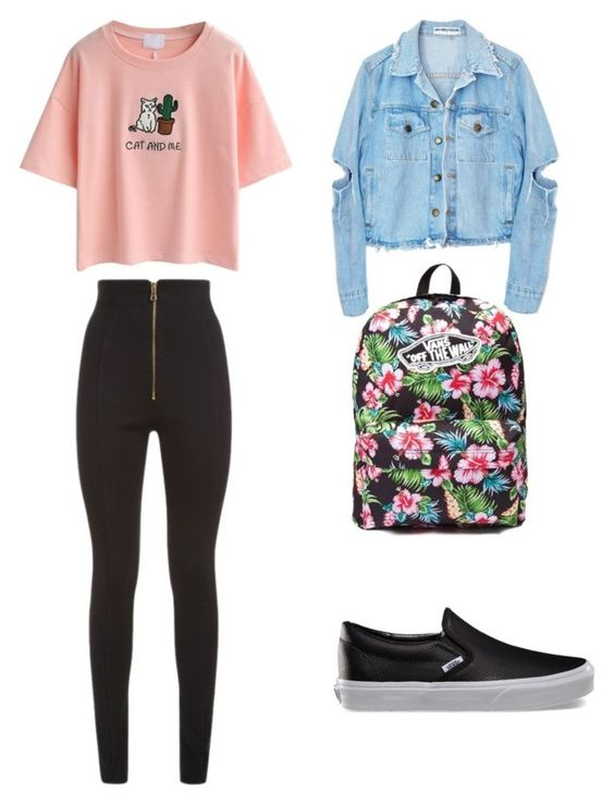 to school by petra-fia on Polyvore featuring WithChic, Balmain and Vans