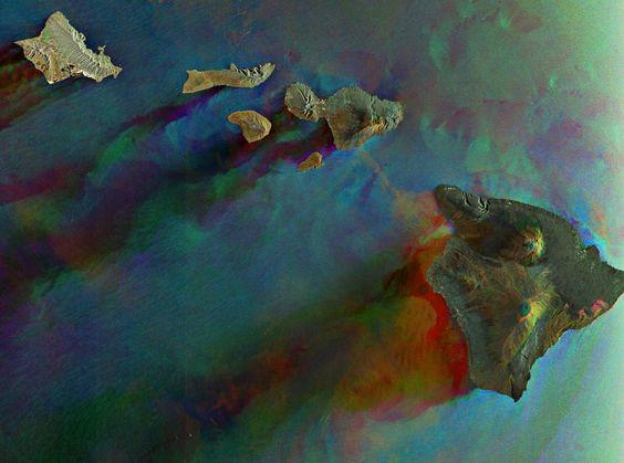 Satellite photo of the Hawaiian Islands.