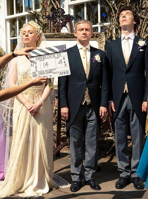Dorks, lol / Benedict Cumberbatch, Martin Freeman and Amanda Abbington filming Watson and Mary wedding