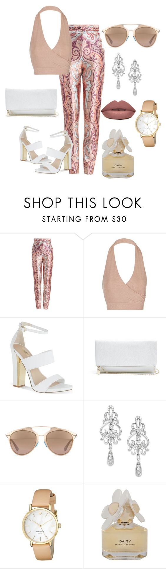 """Untitled #3"" by melaniepp ❤ liked on Polyvore featuring Zimmermann, Topshop, Carvela, GUESS, Christian Dior, Wrapped In Love, Kate Spade and Marc by Marc Jacobs"