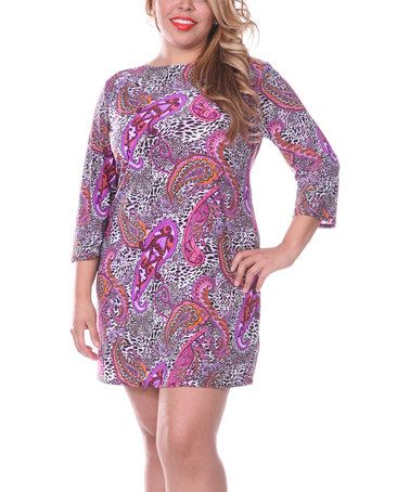 Another great find on #zulily! Purple & Pink Paisley Shift Dress - Plus by White Mark #zulilyfinds