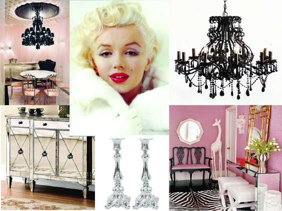 Black chandelier hollywood and pink on pinterest - Old hollywood glamour decor ...