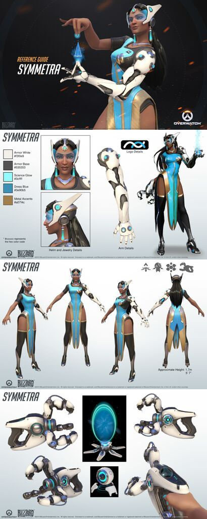 Concept Character Design Tips : Overwatch symmetra reference guide character design