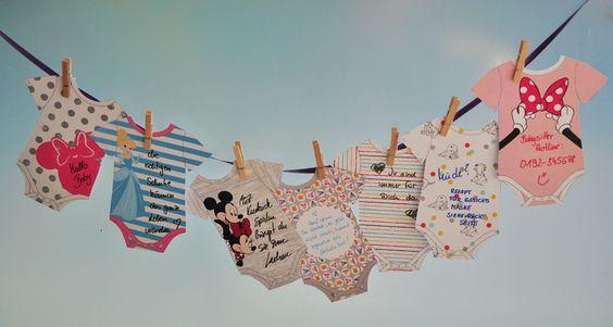 Zuckersüße Babyshower- Wäscheleine mit Disney Motiven von disneybaby.de #Disneybaby #DIY #Babyshower