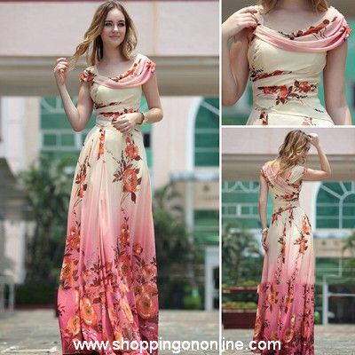 Red Evening Gown - Modern Floral Printing $198.00 (was $235) Click ...