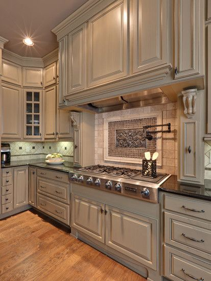The cabinet over the stove will be like this. Teri Turan, Traditional Kitchen, Atlanta. LOL this is almost the design for the backsplash we picked as well. Just the tile below the accent is 2 X 4 brick layed