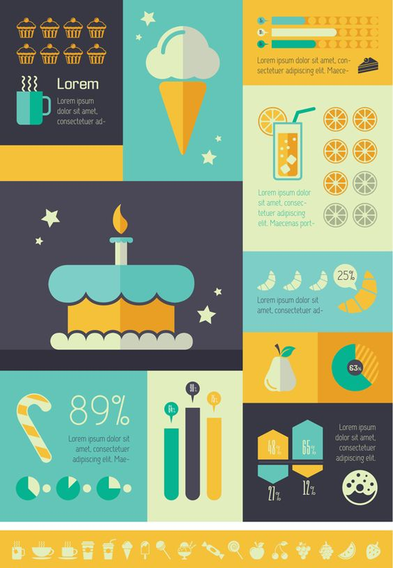 Food Infographics Templates. Flat Design. Vector Graphics. | Food ...
