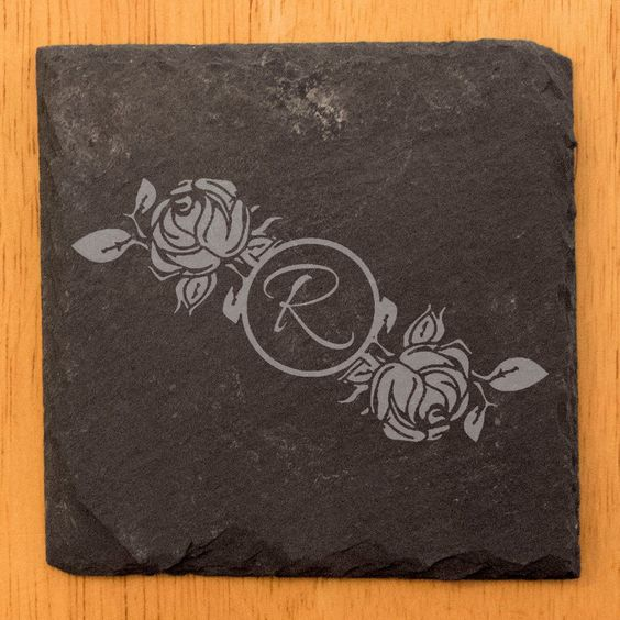 Roses personalized monogram coasters, set of 4 (slate/cork/mdf options) ** Free US Shipping **