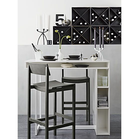 Grey high dining table and bar on pinterest for Tall dining tables small spaces