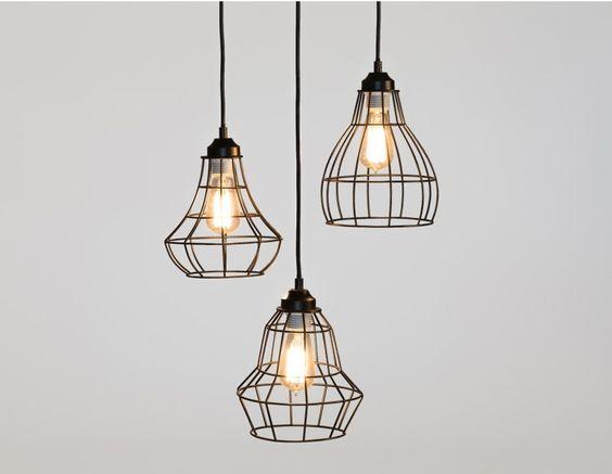 Oslo suspension industriel m taux et design for Suspension trois ampoules