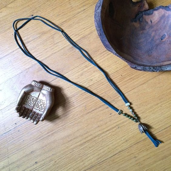 long leather boho necklace by DancingMoonBoutique on Etsy