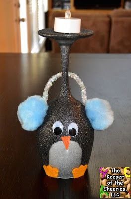 Penguin Christmas Wine Glasses (Candle Holders) - made with dollar store wine glasses and glitter blast spray paint