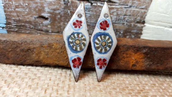 Enameled Earring Charms Long Diamonds Retro Gypsy Design Handmade Jewelry Charm Component Jewelry Supplies