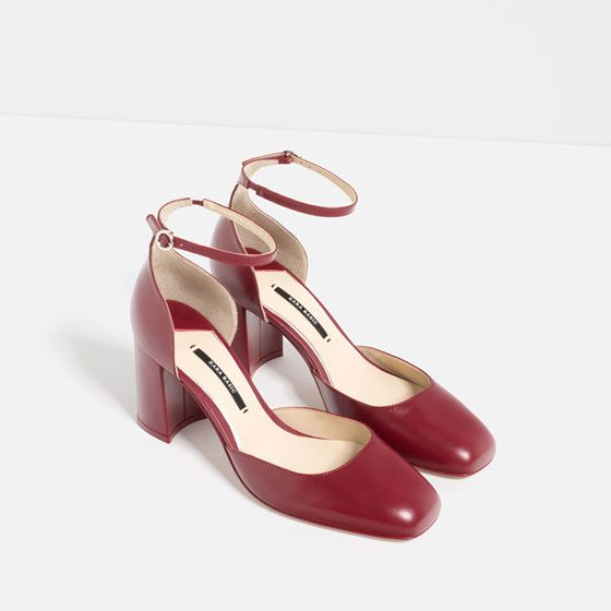 Image 3 of MID HEEL LEATHER SHOES WITH ANKLE STRAP from Zara