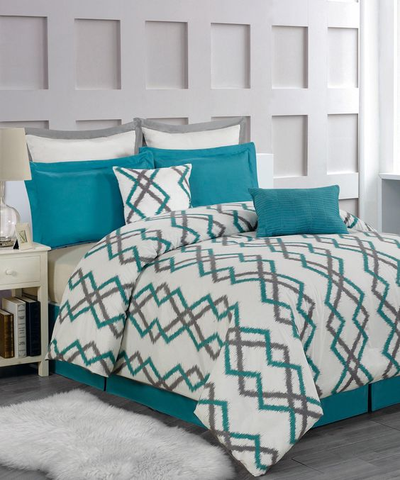 Teal & Gray Kelsey Overfilled Quilted Comforter Set | Something special every day