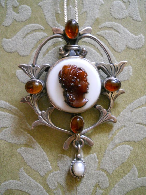 Antique Amber Cameo from the Art Nouveau Period.