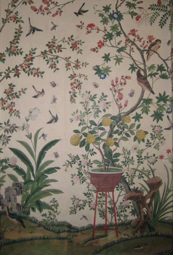 Birds and flowers wallpaper pinterest chinoiserie for Bird mural wallpaper