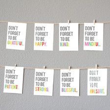 """Mini 8 Piece """"Don't Forget"""" Inspirational Wall Card Set"""