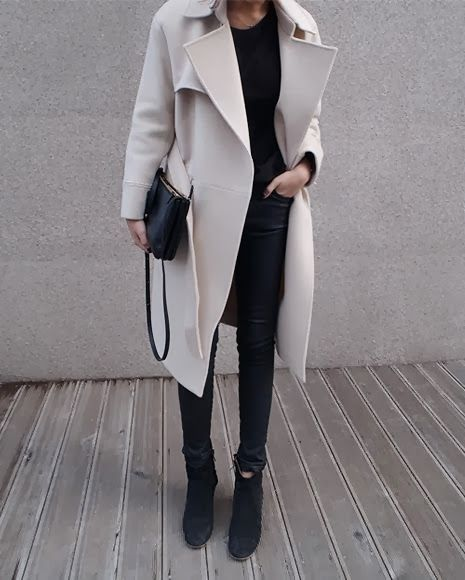 stone coat, black top, leather pants & boots #style #fashion