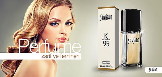 Sansiro K95 Bayan Parfüm  Zarif ve Feminen... Göz kamaştırıcı ve ne istediğini bilen  Sansiro K95 büyüleyici kokusuyla sizi romantizm ile baş başa bırakıyor. Turuçgillerle açılış yapan parfüm kalbinde yasemin ve gül gibi değerli iki çiçeği taşıyor.  http://www.e-sansiro.com/Sansiro-K95-Bayan-Parfum,PR-635.html