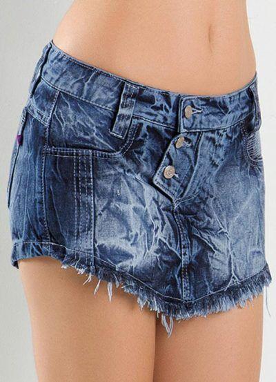 shorts saias jeans escuro com bico