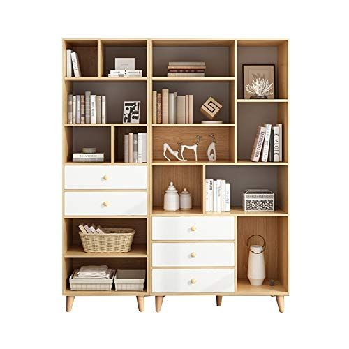 Hiao Bookshelf Bookcase With Drawer Landing 80 50cm Assembly Convenient Wooden Three Colors Color White Bookcase With Drawers Bookshelves Bookcase