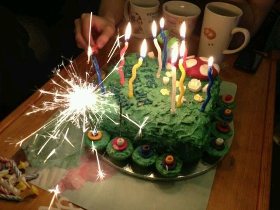 My birthday cake. See the sparkler candle in action.