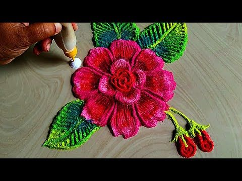 Colourful Rose Flowers Rangoli For Independence Day Special Youtube Rangoli Colours Flower Rangoli Colorful Roses