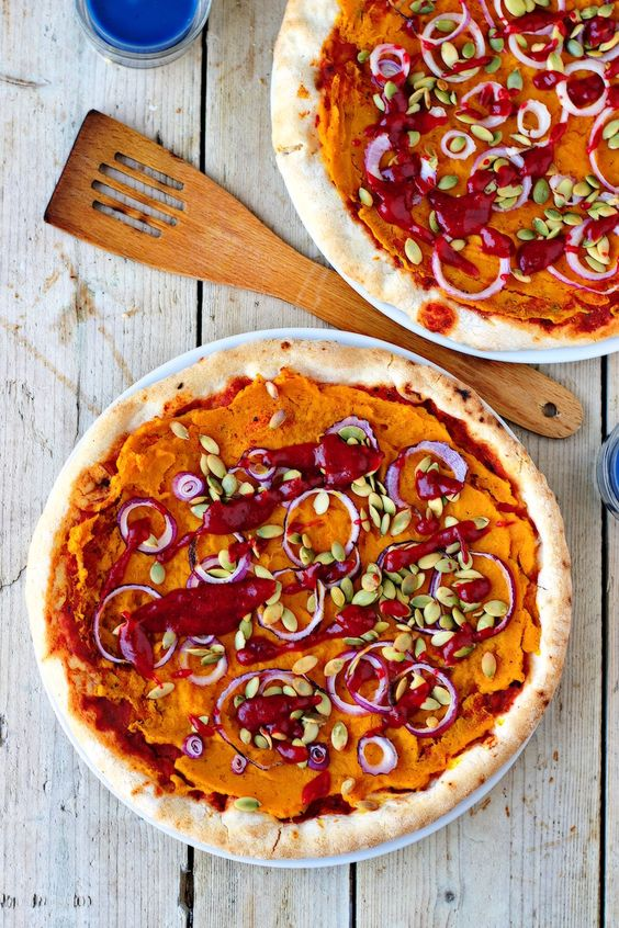 Pumpkin Pizza with Cranberry Sauce | Vegan & Gluten free: