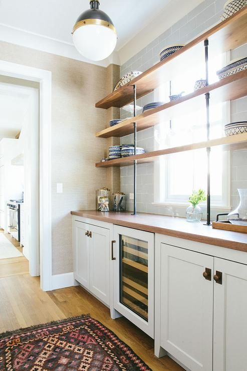 Chic Kitchen Pantry Features White Shaker Cabinets Fitted: Chic Butler's Pantry Features A Hicks Pendant Illuminating