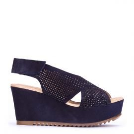 Sandalia planaforma Pedro Miralles en serraje azul #madeinspain  #pedromiralles #flat #shoes #shoeporn #style #trends #ss16 #shoes #calzado
