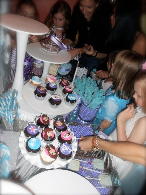 Let the sugar rush begin!  Frozen themed dessert table.  Guests took home blue, white and lavender treats in favor bags in varied graphic designs by The SHOP by Petite Party Studio (www.etsy.com/shop/partysuppliesbypps)