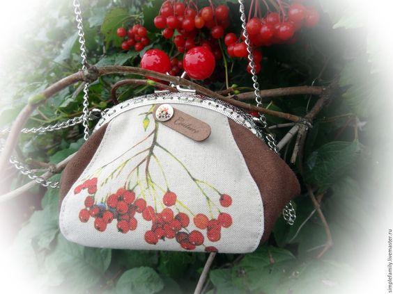 """Купить Текстильная сумочка """"рябинка"""" - купить подарок женщине, лен, сумка ручной…"""