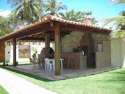Quiosque com churrasqueira forno de pizza lenha area for Paginas para construir casas