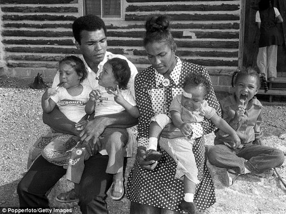 Muhammad Ali is pictured with his second wife Belinda Boyd and their four children, twin daughters Reeshemah (left) and Jamillah, son Muhammad Jr and older daughter Laila:
