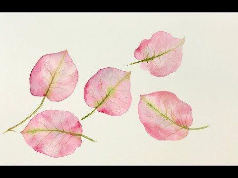 Beginners Watercolors Bougainvillea Leaves Tutorial Youtube In