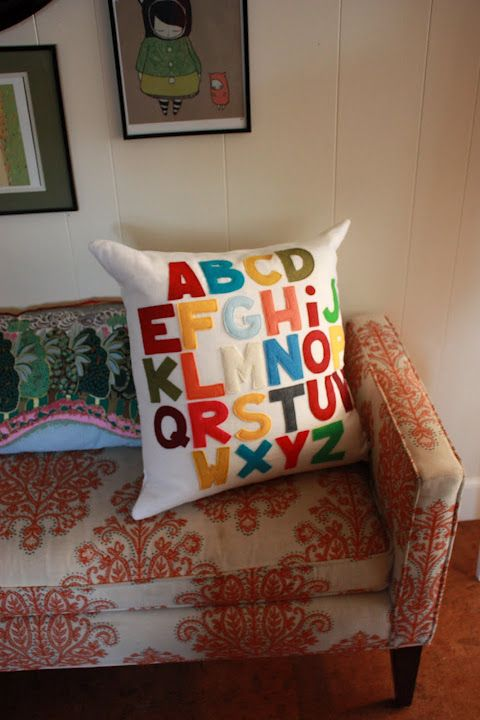 Awesome pillow with felt letters