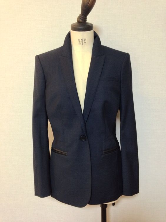 BURBERRY leather detail virgin wool jacket
