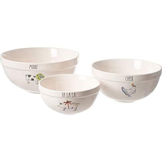 Rae Dunn Fall Animals Christmas Mixing Bowls Set Of 3 Amazon Co Uk Kitchen Home Mixing Bowls Set Mixing Bowls