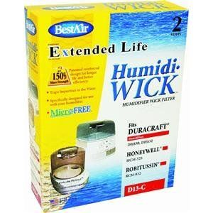 """Best Air D13-c Extended Life Portable Humidifier Wick by RPS. $7.50. BEST AIR EXTENDED LIFE PORTABLE HUMIDIFIER WICK. Designed to fit Duracraft DH830. 2 pack. BEST AIR"""" EXTENDED LIFE PORTABLE HUMIDIFIER WICK *2 pack *Designed to fit Duracraft DH830 *Boxed. Save 21%!"""