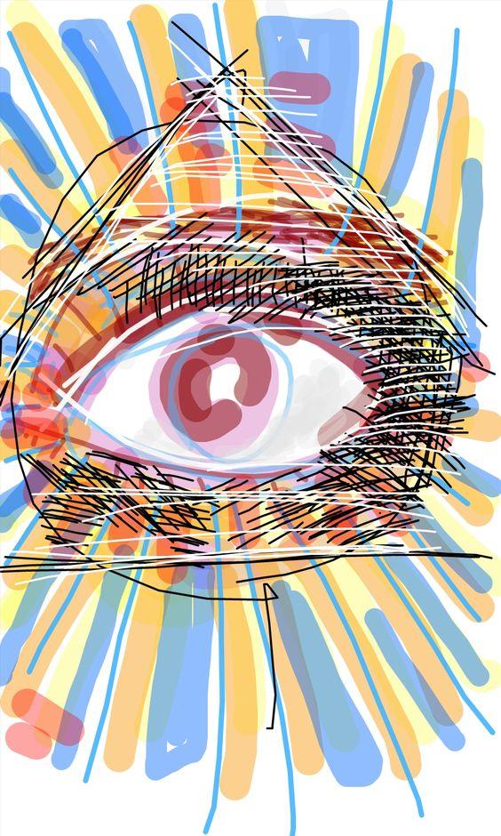 O olho que tudo vê. Ilustração feita em tela de aparelho celular. Paulo Moura, 2015.